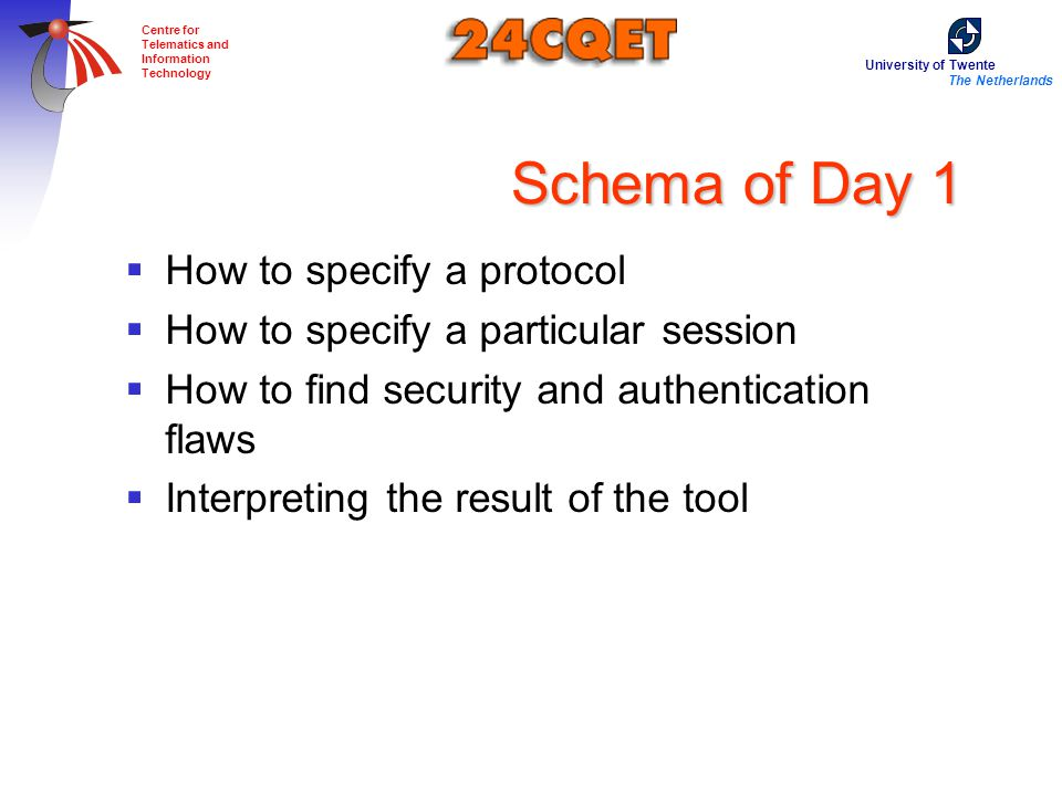 University of Twente The Netherlands Centre for Telematics and Information Technology Schema of Day 1  How to specify a protocol  How to specify a particular session  How to find security and authentication flaws  Interpreting the result of the tool