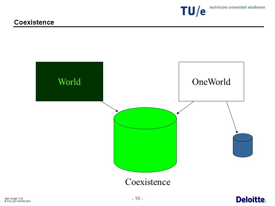 Gast college TUE © Copyright Deloitte 2004 - 10 - Coexistence WorldOneWorld Coexistence