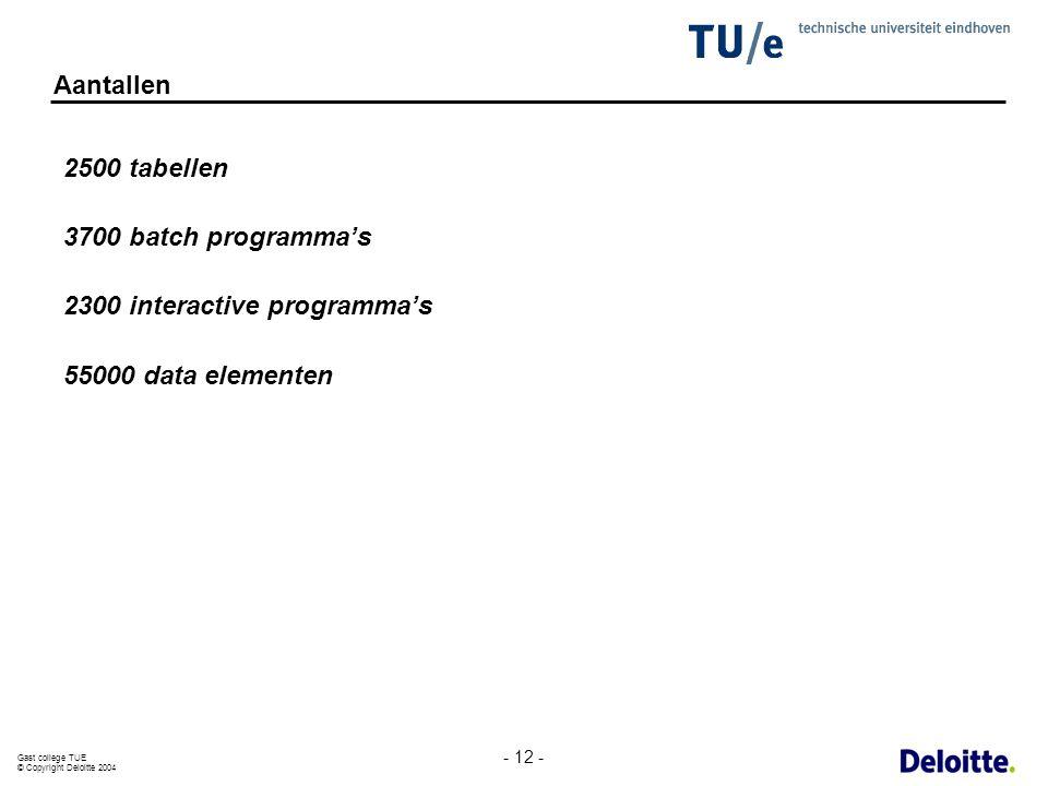 Gast college TUE © Copyright Deloitte 2004 - 12 - Aantallen 2500 tabellen 3700 batch programma's 2300 interactive programma's 55000 data elementen