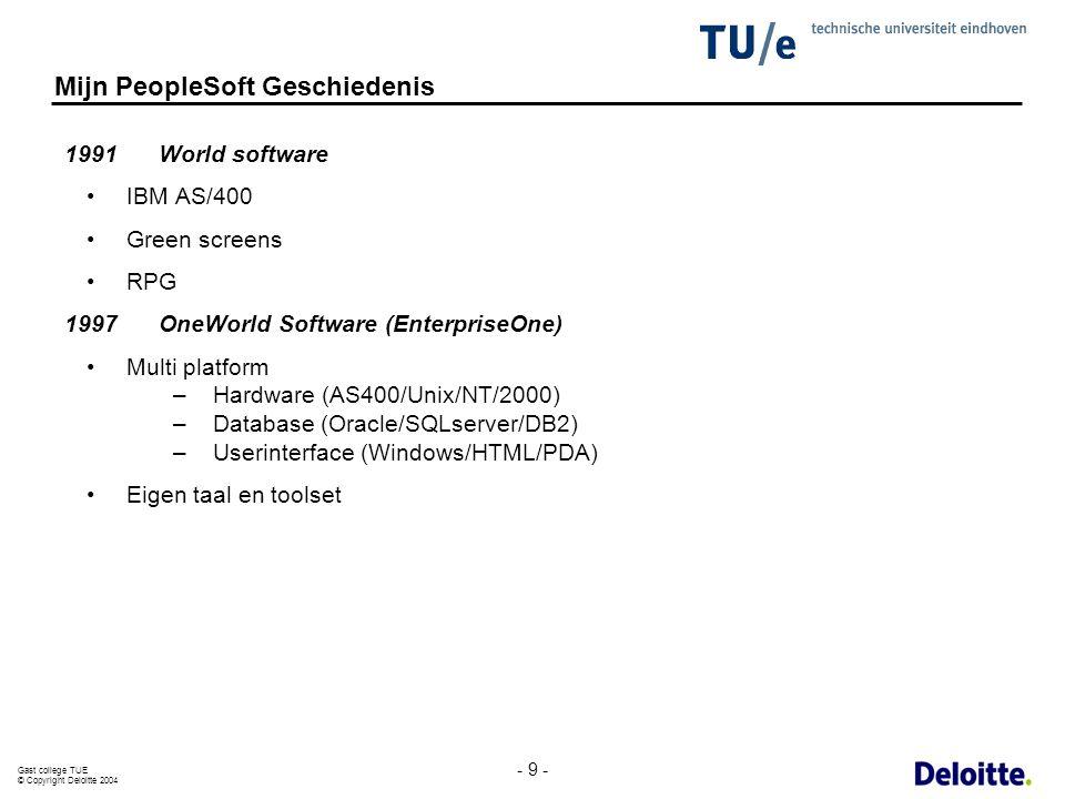 Gast college TUE © Copyright Deloitte 2004 - 9 - Mijn PeopleSoft Geschiedenis 1991 World software IBM AS/400 Green screens RPG 1997OneWorld Software (