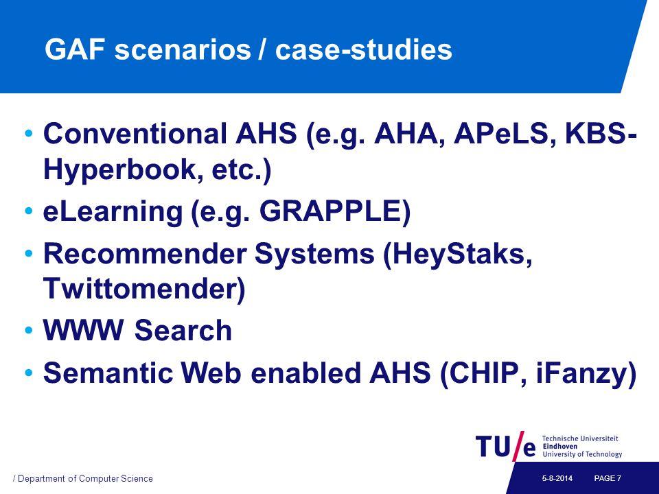 GAF scenarios / case-studies Conventional AHS (e.g.