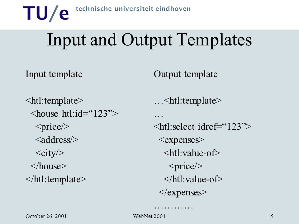 TU/e technische universiteit eindhoven WebNet 2001October 26, 200115 Input and Output Templates Input template Output template … …………