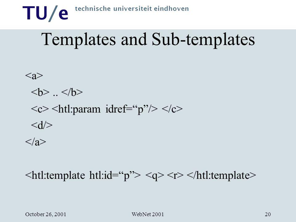 TU/e technische universiteit eindhoven WebNet 2001October 26, 200120 Templates and Sub-templates..