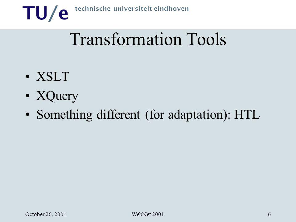 TU/e technische universiteit eindhoven WebNet 2001October 26, 200127 Contact Information W.J.M.