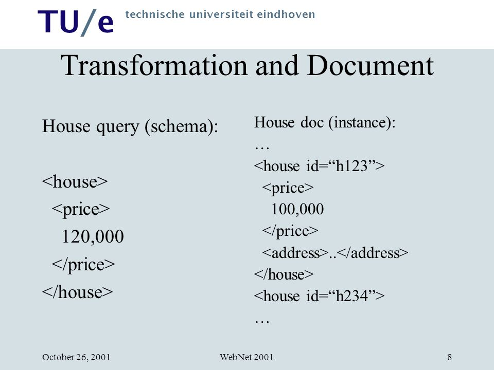 TU/e technische universiteit eindhoven WebNet 2001October 26, 20019 Requirements for HERA Transformations Isomorphism between schema and instance Separate items separately accessible Separation of input and output document specifications One uniform mechanism for specifying structure, values and operations, independent of their use