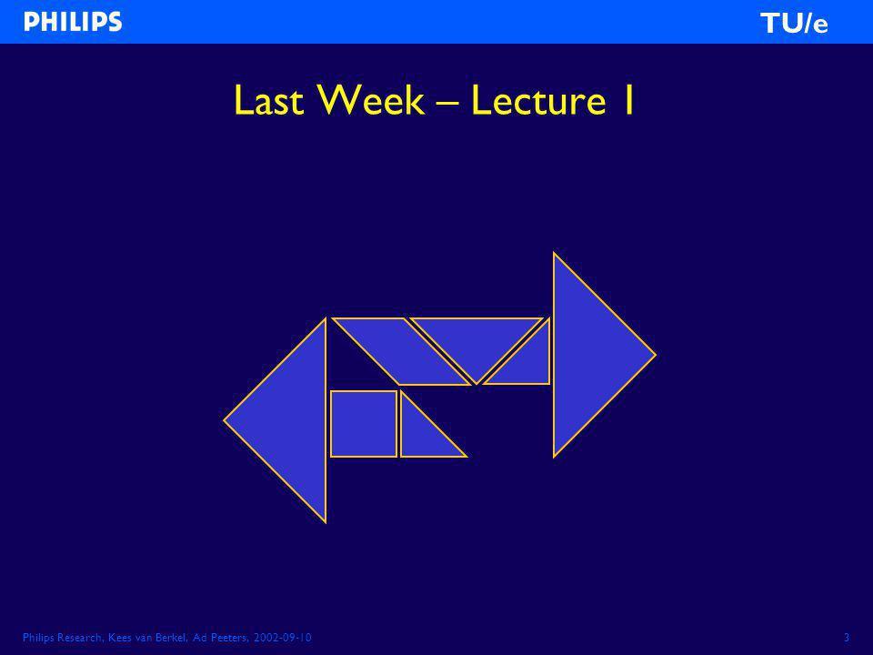 Philips Research, Kees van Berkel, Ad Peeters, 2002-09-103 TU/e Last Week – Lecture 1