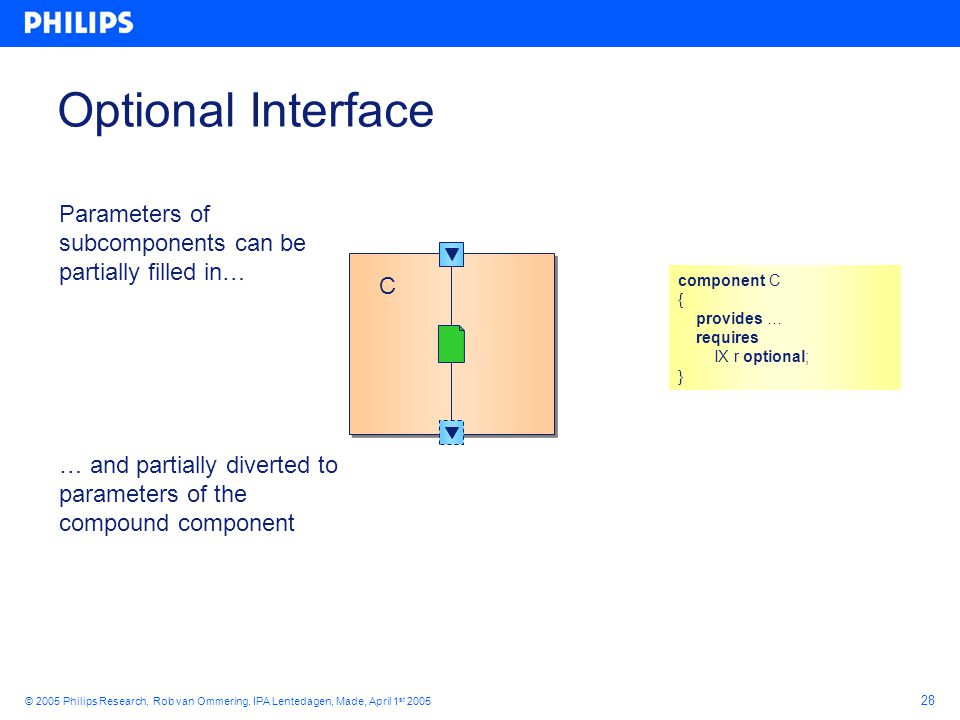 28 © 2005 Philips Research, Rob van Ommering, IPA Lentedagen, Made, April 1 st 2005 Optional Interface C C Parameters of subcomponents can be partially filled in… … and partially diverted to parameters of the compound component component C { provides … requires IX r optional; }