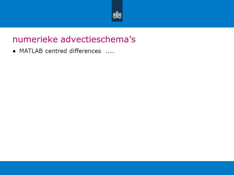 numerieke advectieschema's ●MATLAB centred differences....