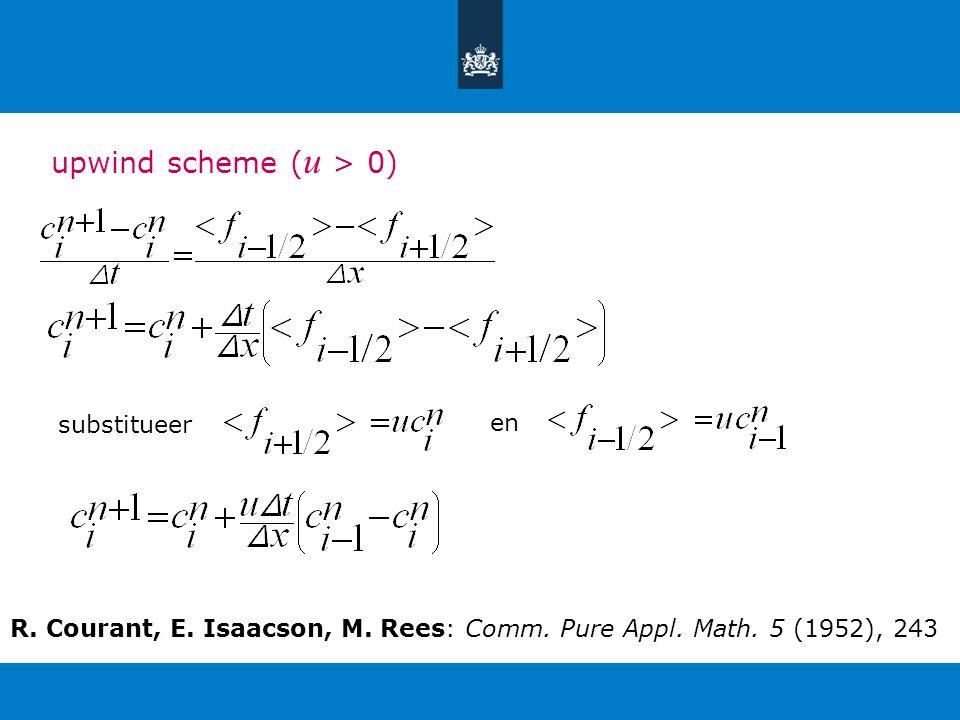 upwind scheme ( u > 0) substitueer en R. Courant, E.