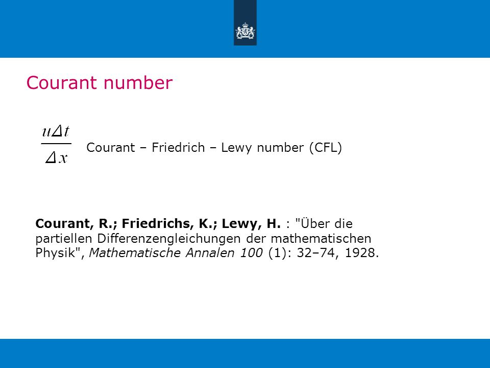 Courant number Courant – Friedrich – Lewy number (CFL) Courant, R.; Friedrichs, K.; Lewy, H.