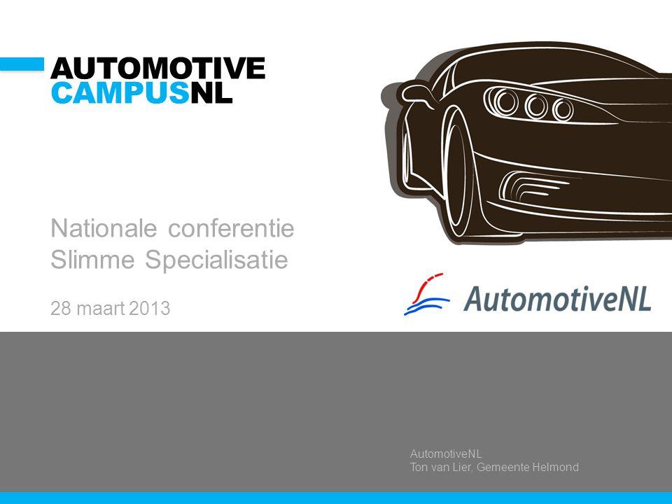 AutomotiveNL Ton van Lier, Gemeente Helmond AUTOMOTIVE CAMPUSNL Nationale conferentie Slimme Specialisatie 28 maart 2013