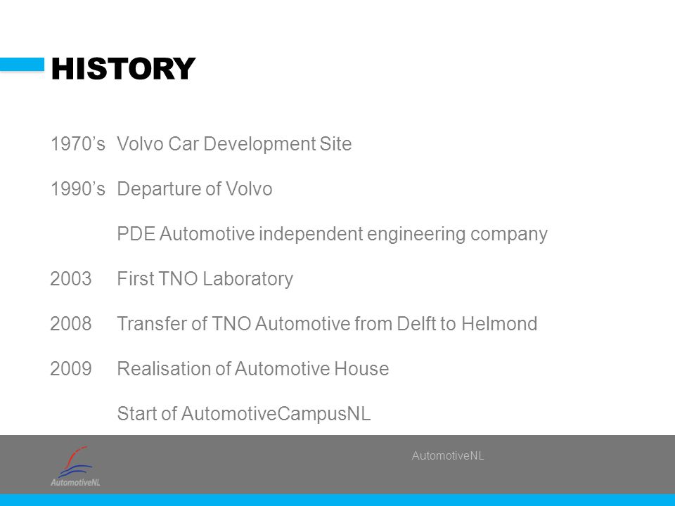 AutomotiveNL HISTORY 1970'sVolvo Car Development Site 1990'sDeparture of Volvo PDE Automotive independent engineering company 2003First TNO Laboratory