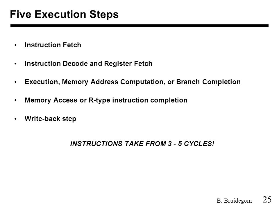 25 B. Bruidegom Instruction Fetch Instruction Decode and Register Fetch Execution, Memory Address Computation, or Branch Completion Memory Access or R