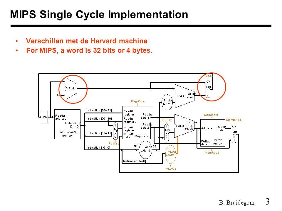 3 B. Bruidegom MIPS Single Cycle Implementation Verschillen met de Harvard machine For MIPS, a word is 32 bits or 4 bytes.