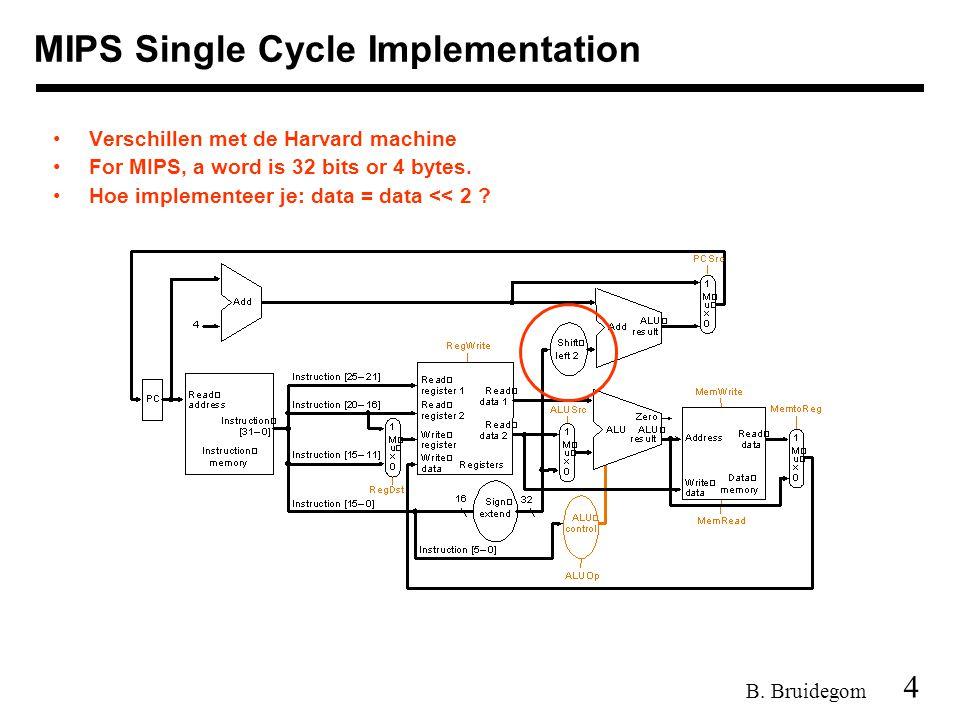 4 B. Bruidegom MIPS Single Cycle Implementation Verschillen met de Harvard machine For MIPS, a word is 32 bits or 4 bytes. Hoe implementeer je: data =