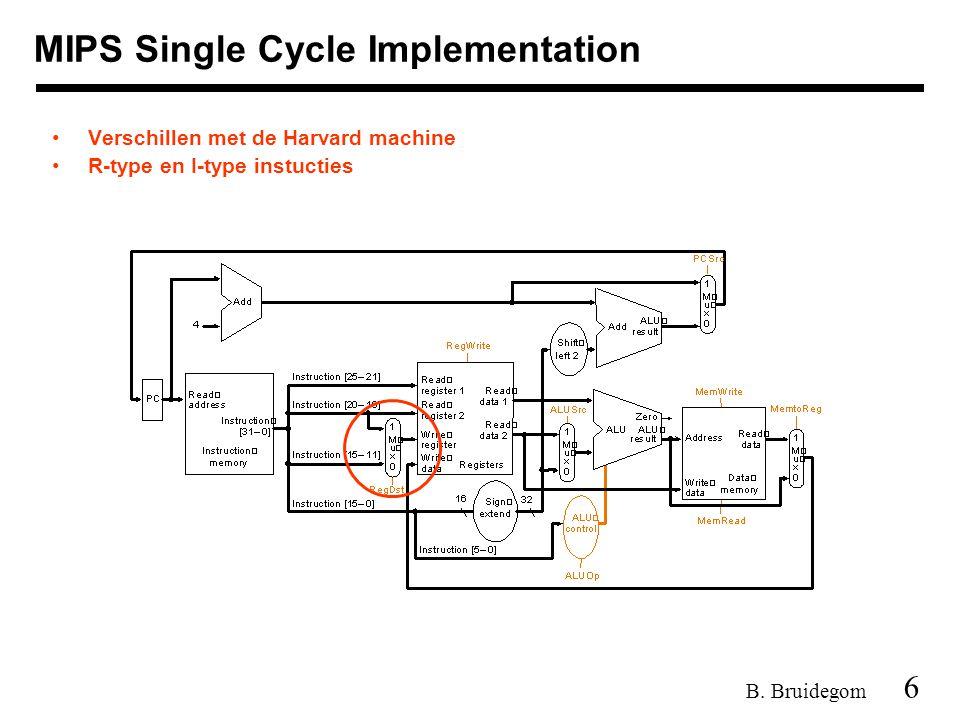 6 B. Bruidegom MIPS Single Cycle Implementation Verschillen met de Harvard machine R-type en I-type instucties