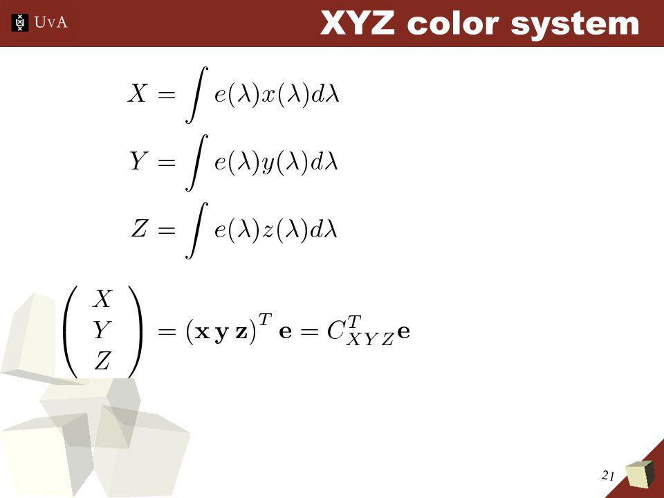 21 XYZ color system