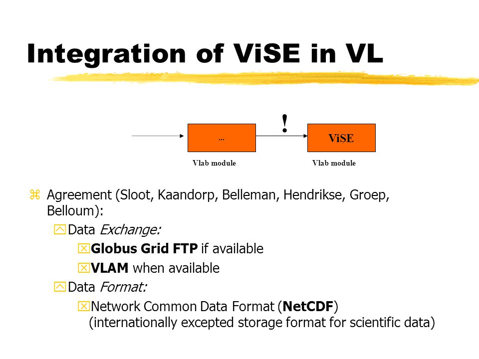 Integration of ViSE in VL zAgreement (Sloot, Kaandorp, Belleman, Hendrikse, Groep, Belloum): yData Exchange: xGlobus Grid FTP if available xVLAM when available yData Format: xNetwork Common Data Format (NetCDF) (internationally excepted storage format for scientific data)...