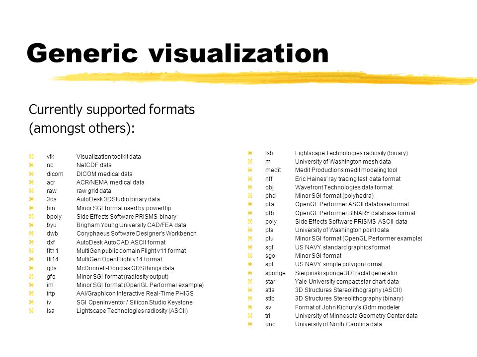 Generic visualization Currently supported formats (amongst others): zvtkVisualization toolkit data zncNetCDF data zdicomDICOM medical data zacrACR/NEMA medical data zrawraw grid data z3dsAutoDesk 3DStudio binary data zbinMinor SGI format used by powerflip zbpolySide Effects Software PRISMS binary zbyuBrigham Young University CAD/FEA data zdwbCoryphaeus Software Designer s Workbench zdxfAutoDesk AutoCAD ASCII format zflt11MultiGen public domain Flight v11 format zflt14MultiGen OpenFlight v14 format zgdsMcDonnell-Douglas GDS things data zgfoMinor SGI format (radiosity output) zimMinor SGI format (OpenGL Performer example) zirtpAAI/Graphicon Interactive Real-Time PHIGS zivSGI OpenInventor / Silicon Studio Keystone zlsaLightscape Technologies radiosity (ASCII) zlsbLightscape Technologies radiosity (binary) zmUniversity of Washington mesh data zmeditMedit Productions medit modeling tool znffEric Haines ray tracing test data format zobjWavefront Technologies data format zphdMinor SGI format (polyhedra) zpfaOpenGL Performer ASCII database format zpfbOpenGL Performer BINARY database format zpolySide Effects Software PRISMS ASCII data zptsUniversity of Washington point data zptuMinor SGI format (OpenGL Performer example) zsgfUS NAVY standard graphics format zsgoMinor SGI format zspfUS NAVY simple polygon format zspongeSierpinski sponge 3D fractal generator zstarYale University compact star chart data zstla3D Structures Stereolithography (ASCII) zstlb3D Structures Stereolithography (binary) zsvFormat of John Kichury s i3dm modeler ztriUniversity of Minnesota Geometry Center data  uncUniversity of North Carolina data