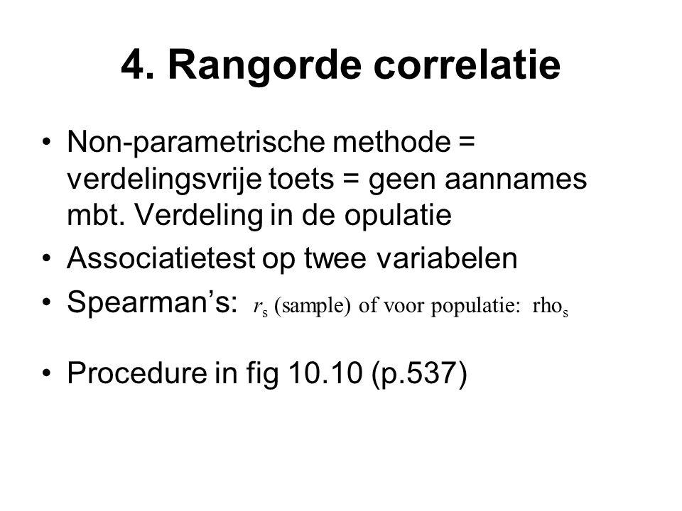 4. Rangorde correlatie Non-parametrische methode = verdelingsvrije toets = geen aannames mbt.