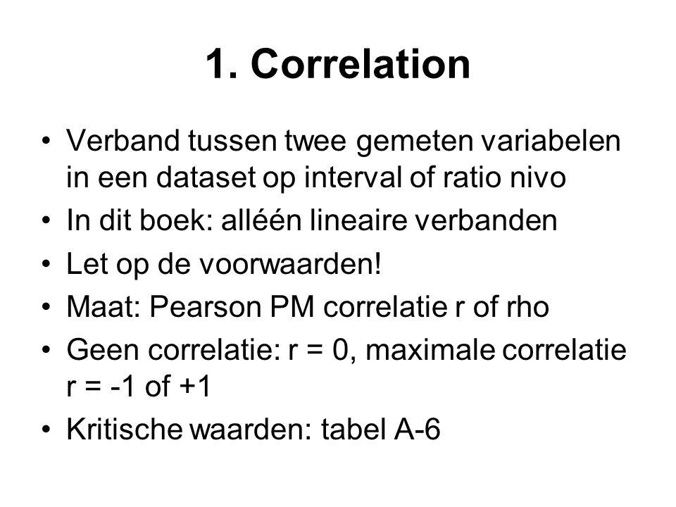 1. Correlation Verband tussen twee gemeten variabelen in een dataset op interval of ratio nivo In dit boek: alléén lineaire verbanden Let op de voorwa