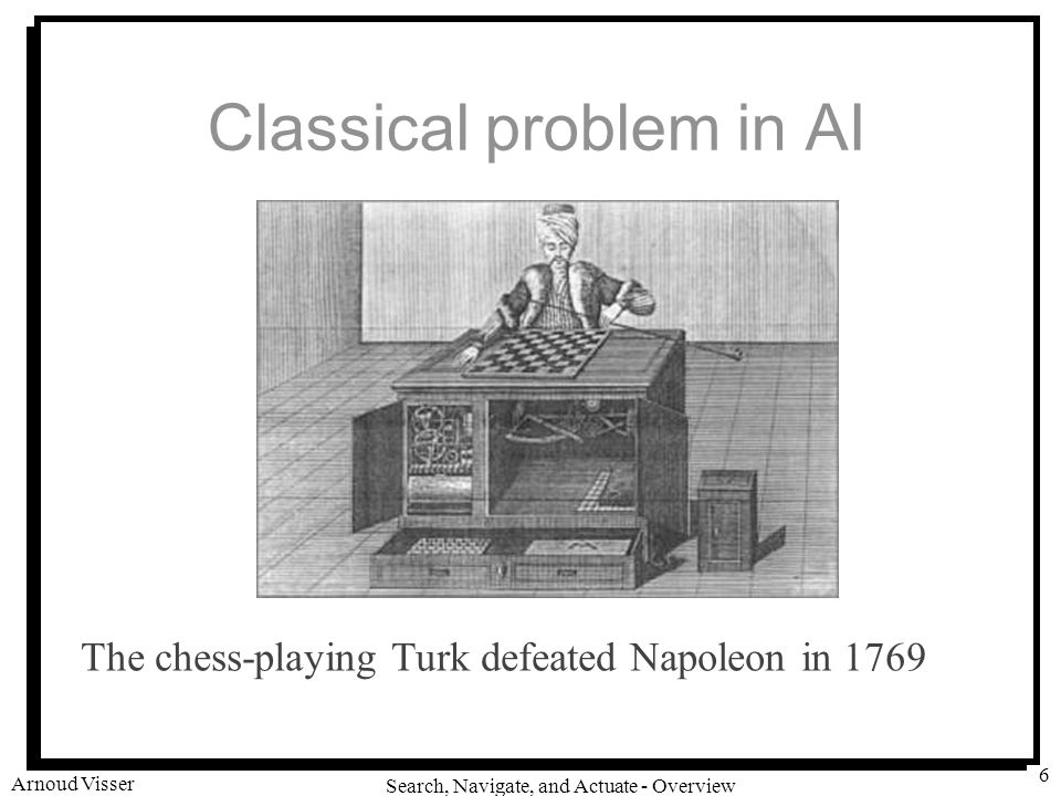 University of Amsterdam Search, Navigate, and Actuate - Overview Arnoud Visser 6 Classical problem in AI The chess-playing Turk defeated Napoleon in 1769