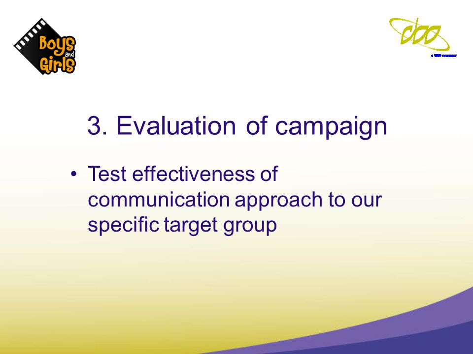 3. Evaluation of campaign Test effectiveness of communication approach to our specific target group