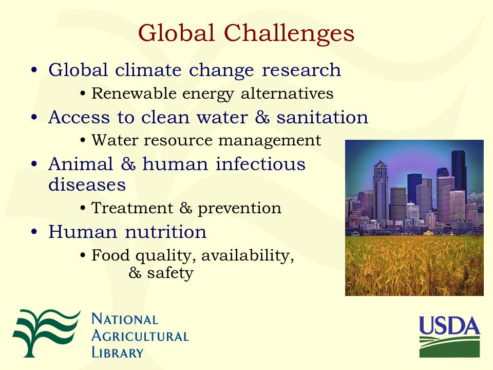 Global Challenges Global climate change research Renewable energy alternatives Access to clean water & sanitation Water resource management Animal & human infectious diseases Treatment & prevention Human nutrition Food quality, availability, & safety