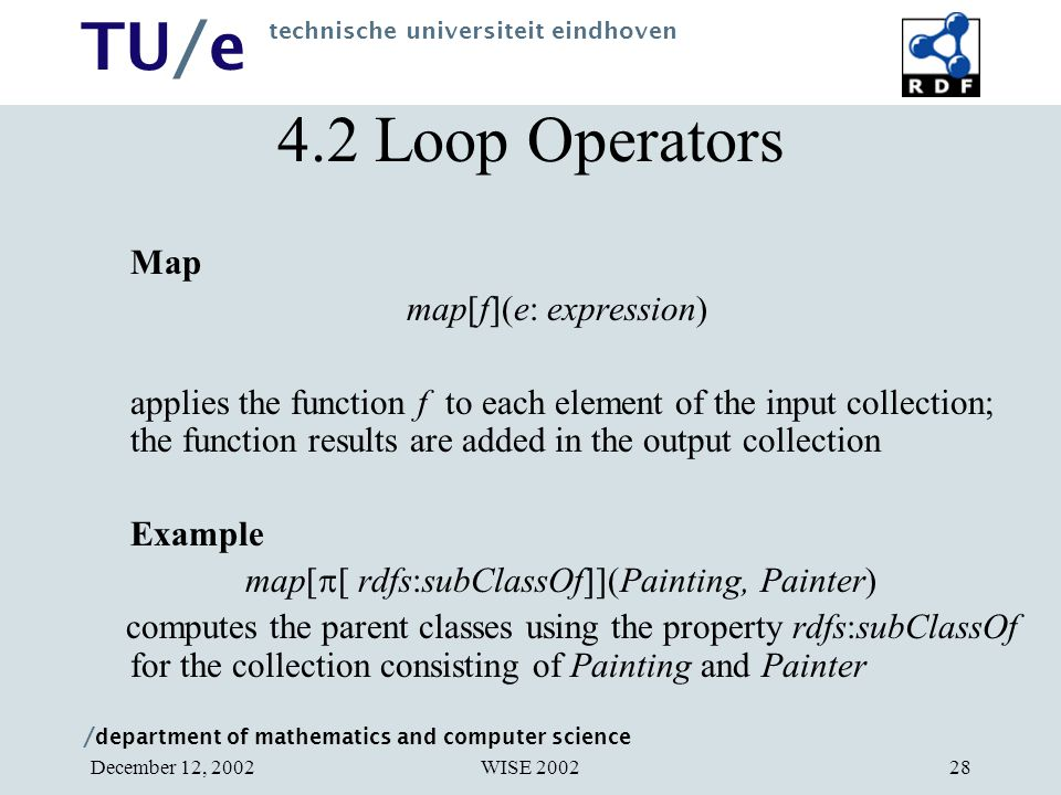 / department of mathematics and computer science TU/e technische universiteit eindhoven WISE 2002December 12, 200228 4.2 Loop Operators Map map[f](e: expression) applies the function f to each element of the input collection; the function results are added in the output collection Example map[  [ rdfs:subClassOf]](Painting, Painter) computes the parent classes using the property rdfs:subClassOf for the collection consisting of Painting and Painter