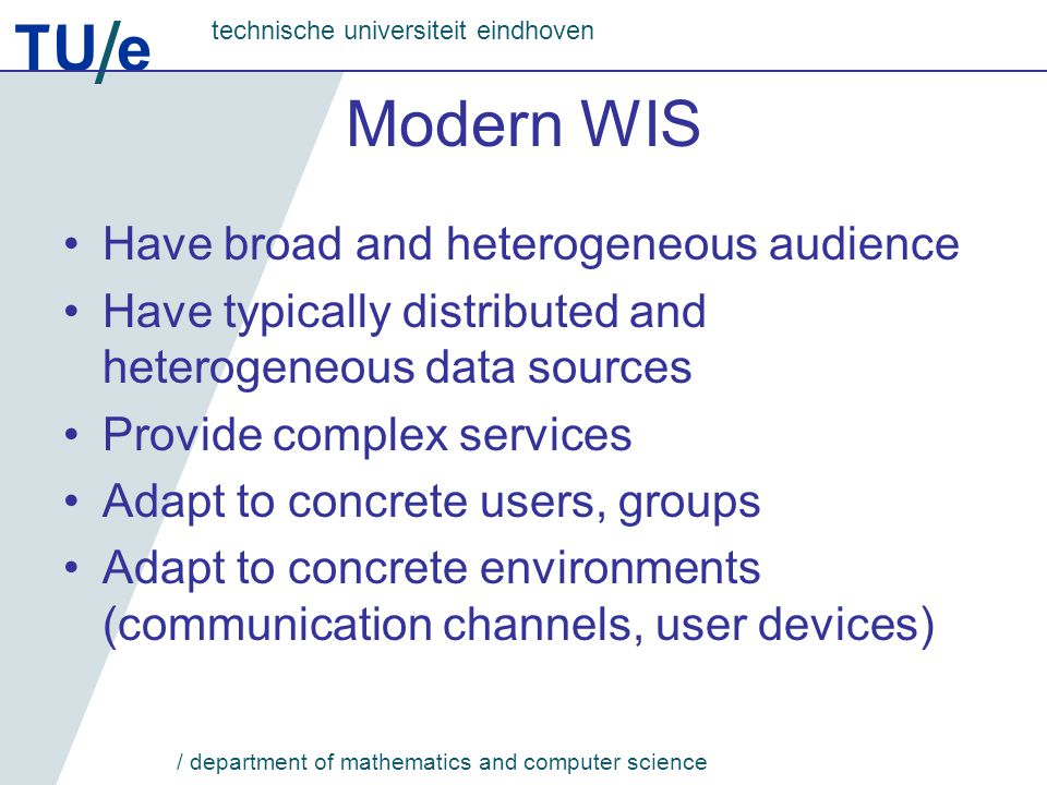 TU e technische universiteit eindhoven / department of mathematics and computer science AM Example
