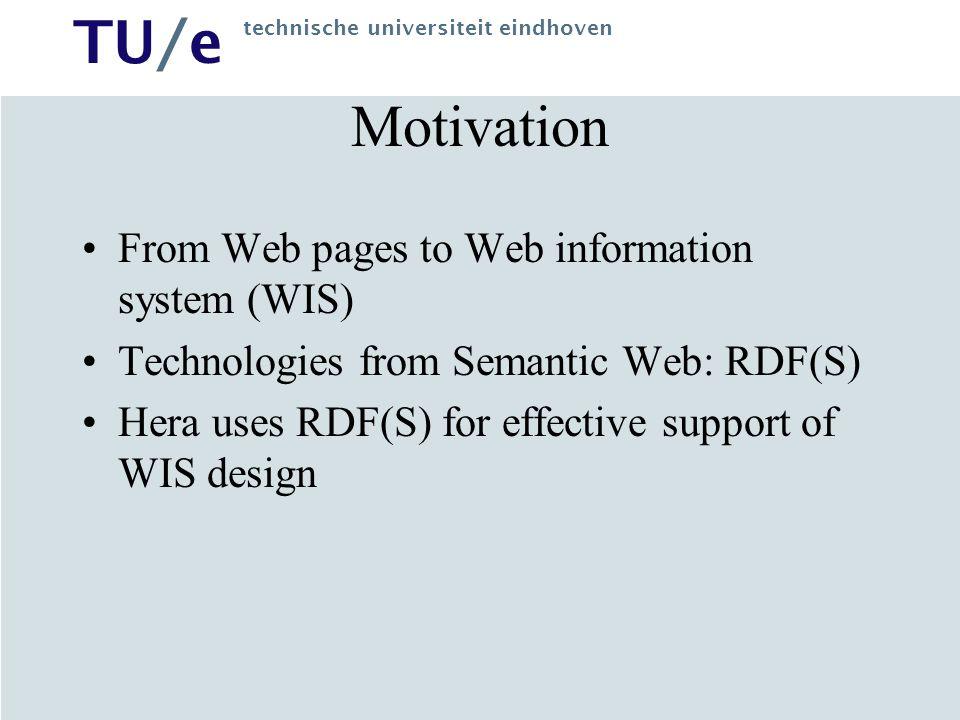 TU/e technische universiteit eindhoven WIS Design Generation of hypermedia presentations: navigation structure –Presentation objects, e.g.
