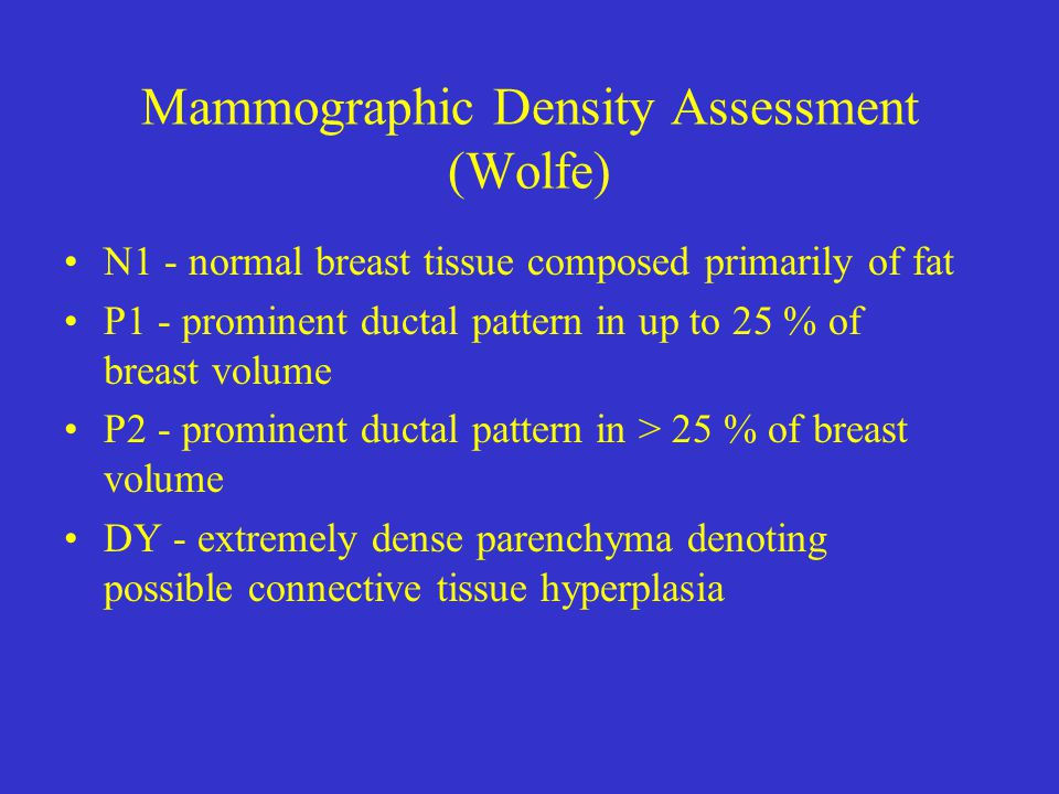 Mammographic Density Assessment (Wolfe) N1 - normal breast tissue composed primarily of fat P1 - prominent ductal pattern in up to 25 % of breast volume P2 - prominent ductal pattern in > 25 % of breast volume DY - extremely dense parenchyma denoting possible connective tissue hyperplasia