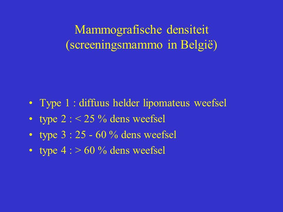 Mammografische densiteit (screeningsmammo in België) Type 1 : diffuus helder lipomateus weefsel type 2 : < 25 % dens weefsel type 3 : 25 - 60 % dens weefsel type 4 : > 60 % dens weefsel