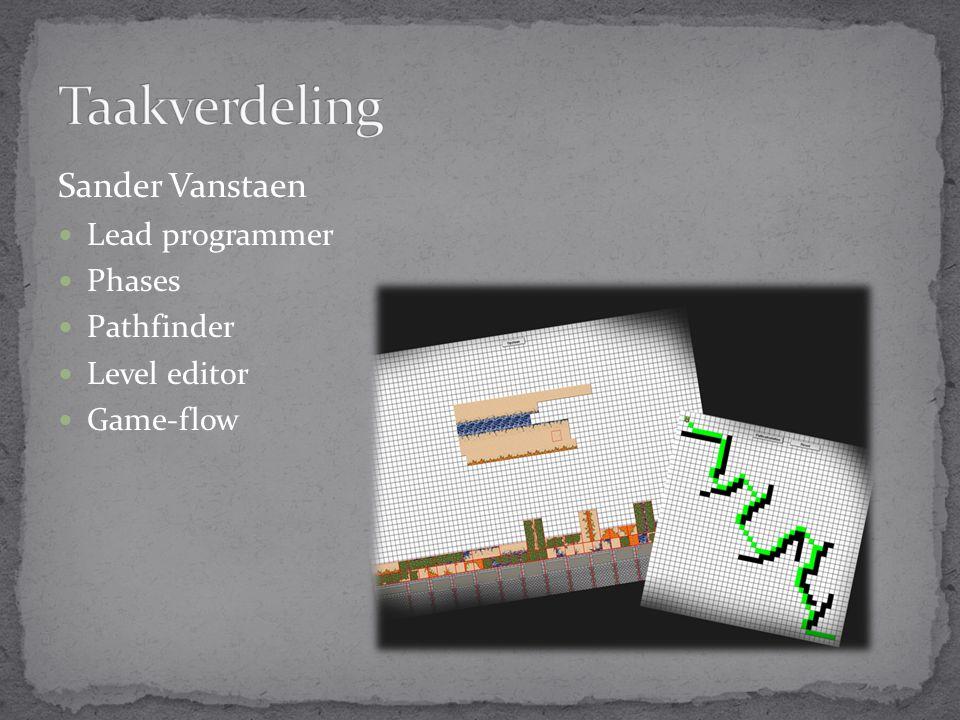 Sander Vanstaen Lead programmer Phases Pathfinder Level editor Game-flow