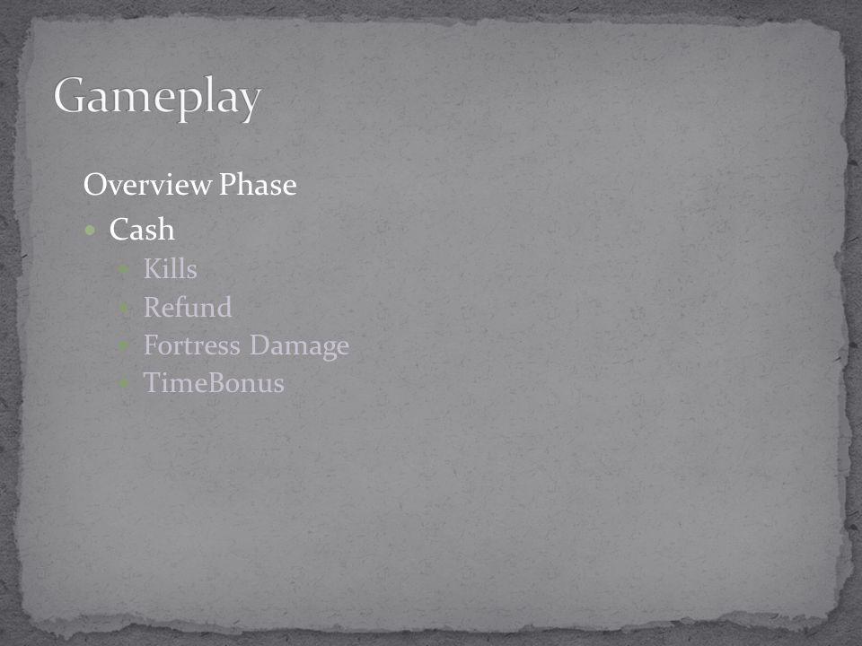 Overview Phase Cash Kills Refund Fortress Damage TimeBonus