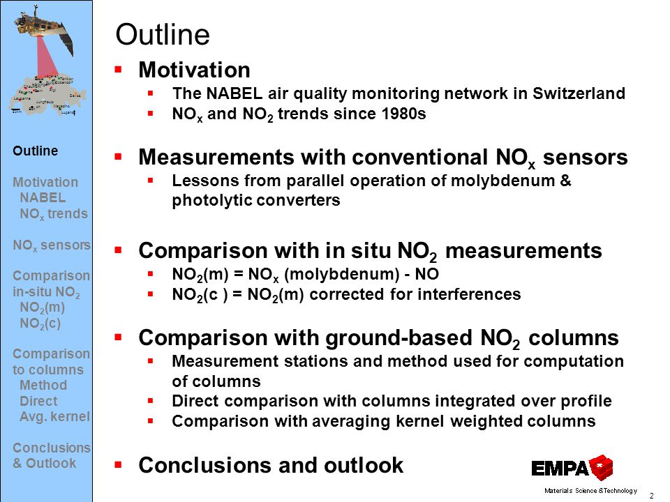 50km N Basel Bern Chaumont Davos Dübendorf Härkingen Jungfraujo ch Lägeren Lausanne Lugano Magadino Payerne Rigi Sion Tänikon Zürich 2  Motivation  The NABEL air quality monitoring network in Switzerland  NO x and NO 2 trends since 1980s  Measurements with conventional NO x sensors  Lessons from parallel operation of molybdenum & photolytic converters  Comparison with in situ NO 2 measurements  NO 2 (m) = NO x (molybdenum) - NO  NO 2 (c ) = NO 2 (m) corrected for interferences  Comparison with ground-based NO 2 columns  Measurement stations and method used for computation of columns  Direct comparison with columns integrated over profile  Comparison with averaging kernel weighted columns  Conclusions and outlook Outline Motivation NABEL NO x trends NO x sensors Comparison in-situ NO 2 NO 2 (m) NO 2 (c) Comparison to columns Method Direct Avg.