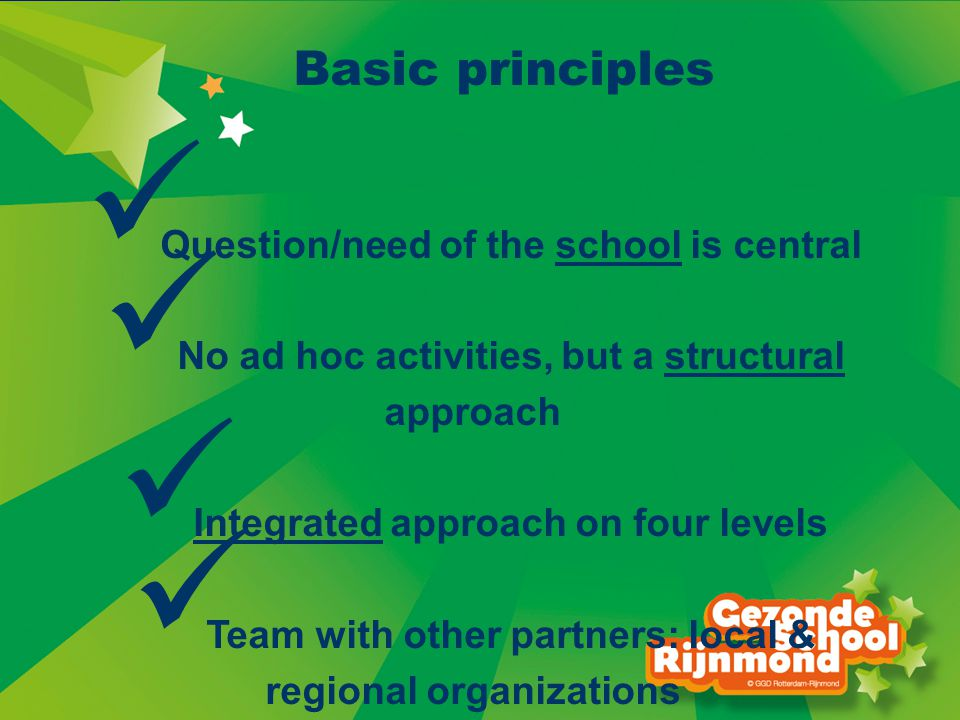 Basic principles Question/need of the school is central No ad hoc activities, but a structural approach Integrated approach on four levels Team with other partners: local & regional organizations