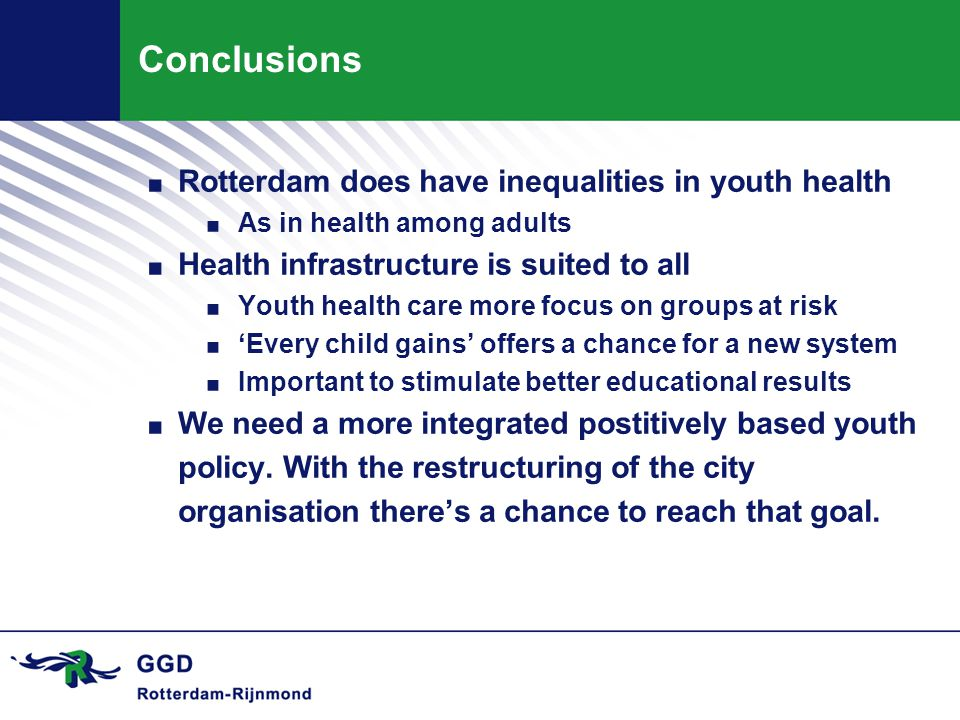 Conclusions. Rotterdam does have inequalities in youth health.