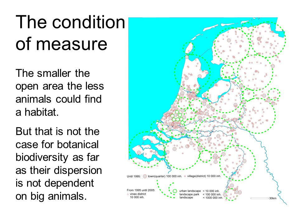The condition of measure The smaller the open area the less animals could find a habitat.