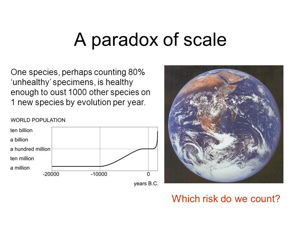 A paradox of scale One species, perhaps counting 80% 'unhealthy' specimens, is healthy enough to oust 1000 other species on 1 new species by evolution per year.
