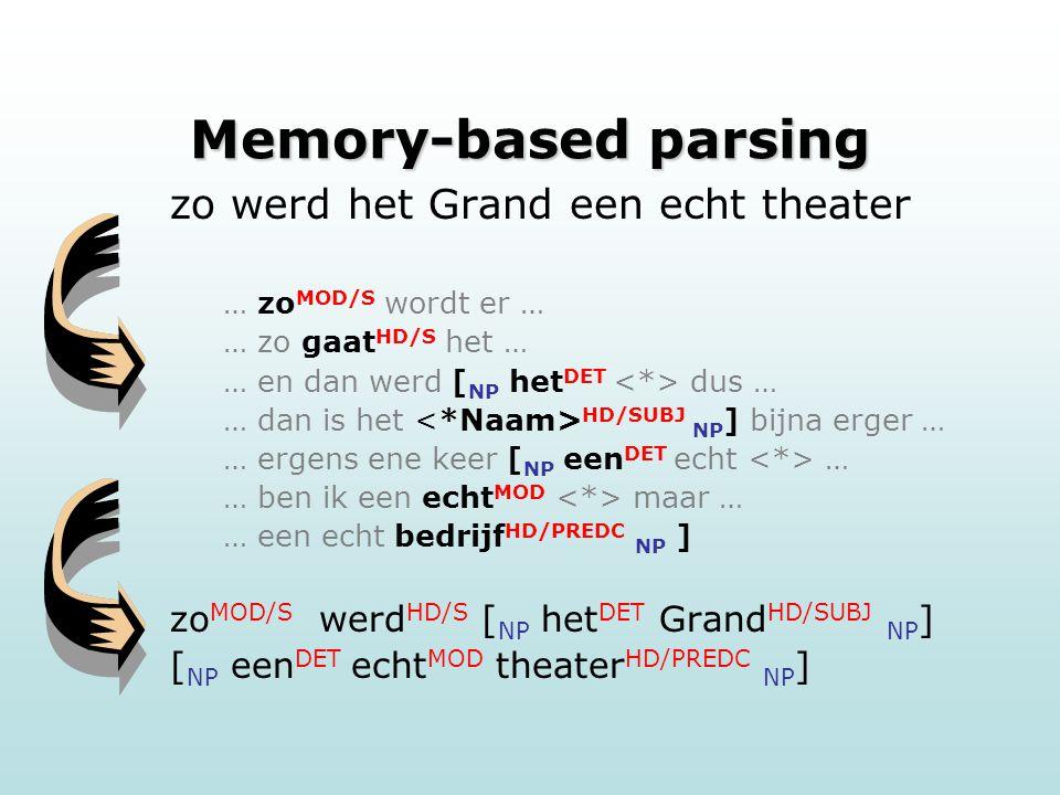 Memory-based parsing zo werd het Grand een echt theater … zo MOD/S wordt er … … zo gaat HD/S het … … en dan werd [ NP het DET dus … … dan is het HD/SUBJ NP ] bijna erger … … ergens ene keer [ NP een DET echt … … ben ik een echt MOD maar … … een echt bedrijf HD/PREDC NP ] zo MOD/S werd HD/S [ NP het DET Grand HD/SUBJ NP ] [ NP een DET echt MOD theater HD/PREDC NP ]