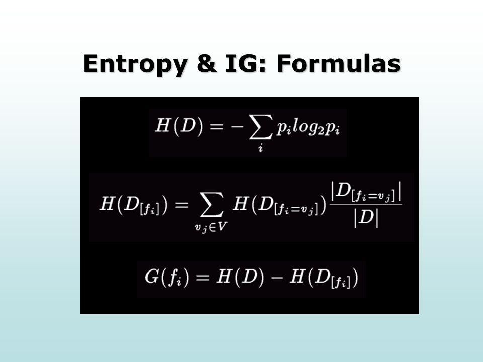 Entropy & IG: Formulas