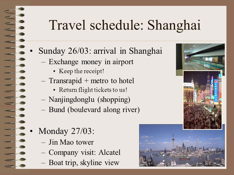 Travel schedule: Shanghai Sunday 26/03: arrival in Shanghai –Exchange money in airport Keep the receipt.