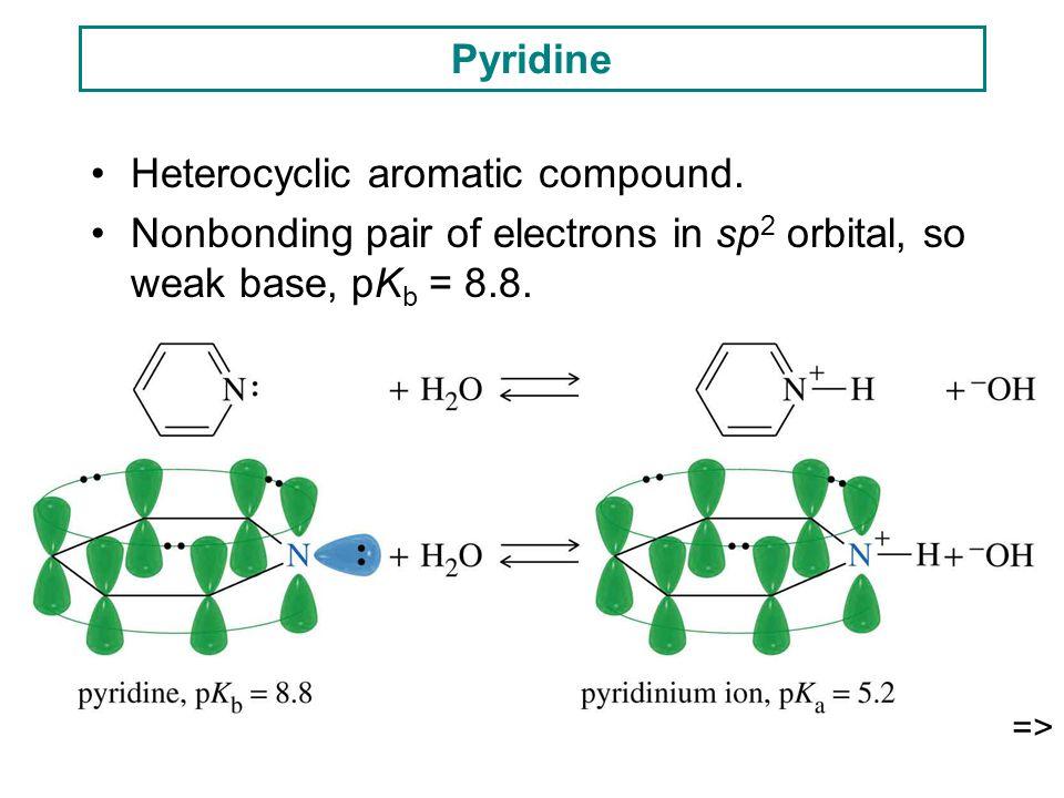 Pyridine Heterocyclic aromatic compound. Nonbonding pair of electrons in sp 2 orbital, so weak base, pK b = 8.8. =>