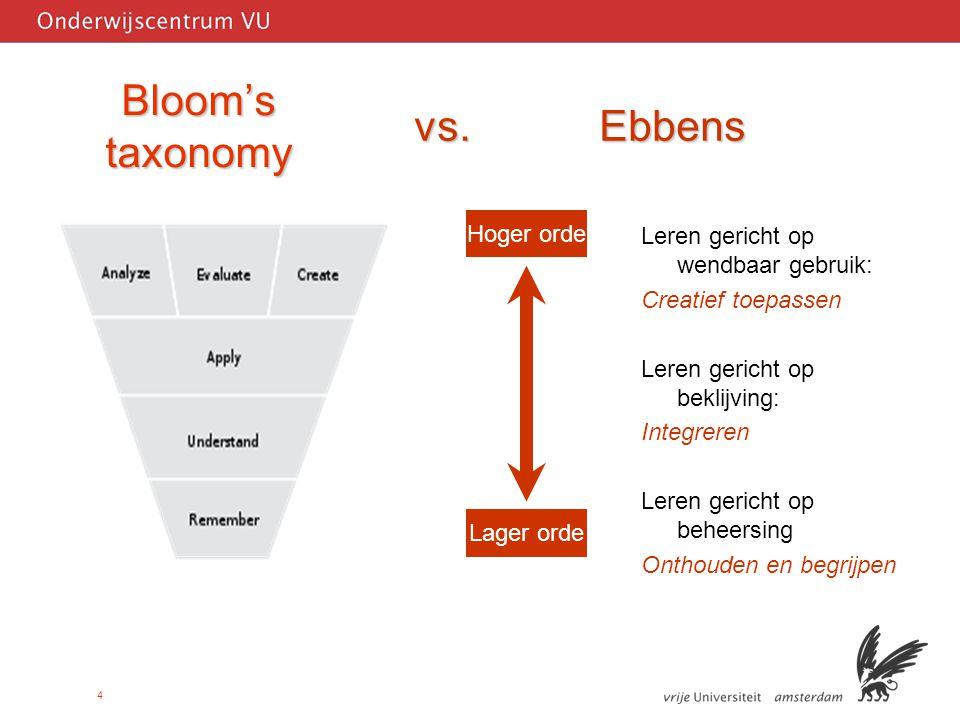 4 Bloom's taxonomy Leren gericht op wendbaar gebruik: Creatief toepassen Leren gericht op beklijving: Integreren Leren gericht op beheersing Onthouden en begrijpen Lager orde Hoger orde vs.