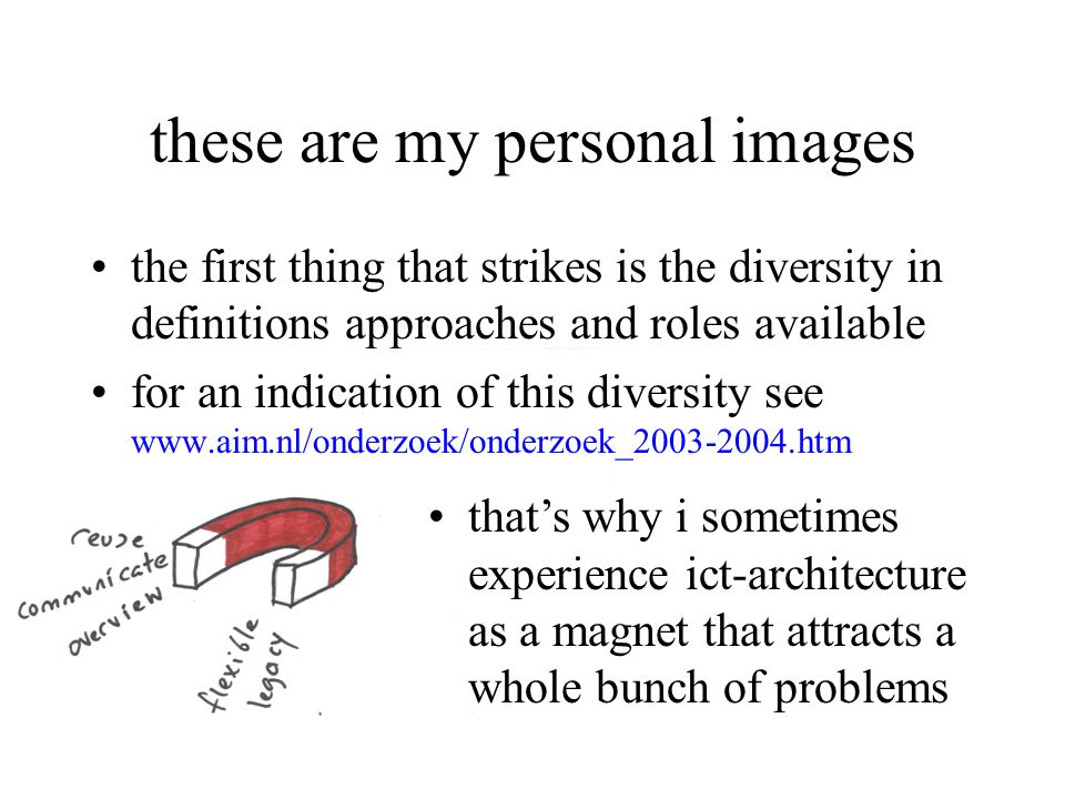these are my personal images the first thing that strikes is the diversity in definitions approaches and roles available for an indication of this diversity see   that's why i sometimes experience ict-architecture as a magnet that attracts a whole bunch of problems