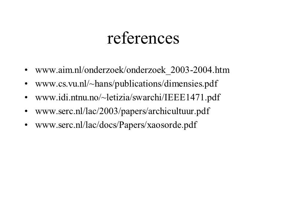 references www.aim.nl/onderzoek/onderzoek_2003-2004.htm www.cs.vu.nl/~hans/publications/dimensies.pdf www.idi.ntnu.no/~letizia/swarchi/IEEE1471.pdf www.serc.nl/lac/2003/papers/archicultuur.pdf www.serc.nl/lac/docs/Papers/xaosorde.pdf