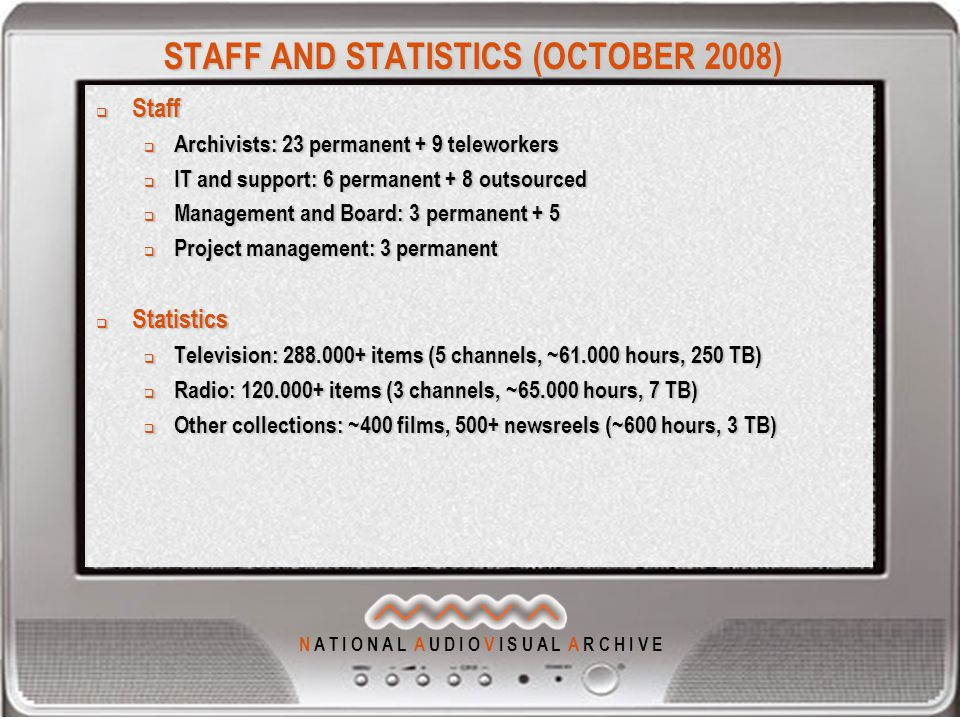 N A T I O N A L A U D I O V I S U A L A R C H I V E STAFF AND STATISTICS (OCTOBER 2008)  Staff  Archivists: 23 permanent + 9 teleworkers  IT and support: 6 permanent + 8 outsourced  Management and Board: 3 permanent + 5  Project management: 3 permanent  Statistics  Television: 288.000+ items (5 channels, ~61.000 hours, 250 TB)  Radio: 120.000+ items (3 channels, ~65.000 hours, 7 TB)  Other collections: ~400 films, 500+ newsreels (~600 hours, 3 TB)