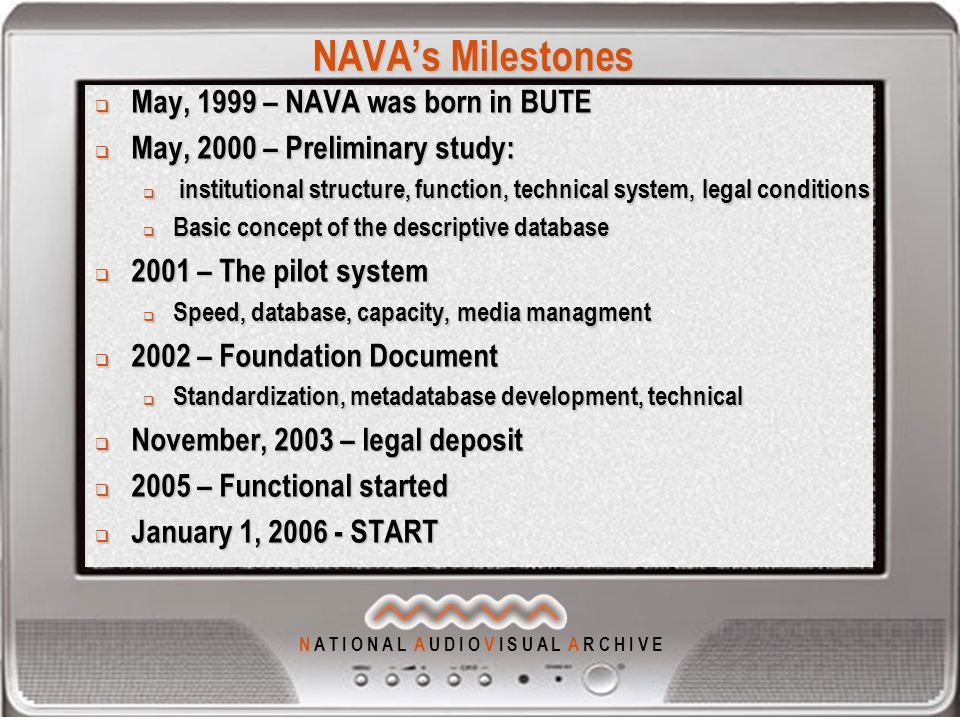 N A T I O N A L A U D I O V I S U A L A R C H I V E NAVA's Milestones  May, 1999 – NAVA was born in BUTE  May, 2000 – Preliminary study:  institutional structure, function, technical system, legal conditions  Basic concept of the descriptive database  2001 – The pilot system  Speed, database, capacity, media managment  2002 – Foundation Document  Standardization, metadatabase development, technical  November, 2003 – legal deposit  2005 – Functional started  January 1, START