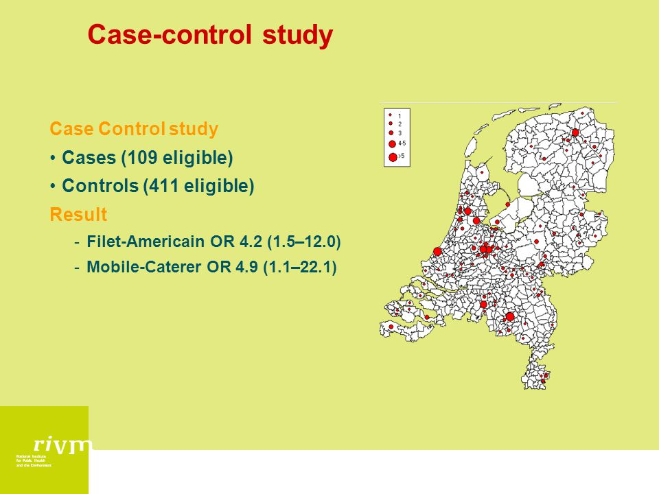 National Institute for Public Health and the Environment Case-control study Case Control study Cases (109 eligible) Controls (411 eligible) Result -Fi